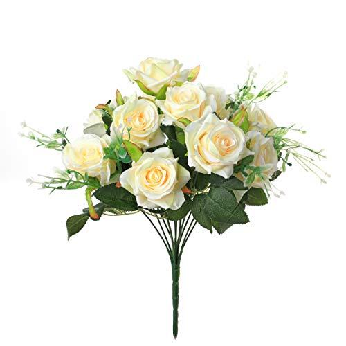 Veryhome Künstlich Rose Seide Rose Blumenstrauß Gefälschte Blume Hochzeit Dekoration Geburtstag Garten Party Blume Gelb 12Blütenköpfe (Seide Blumen Rosen Gelb)