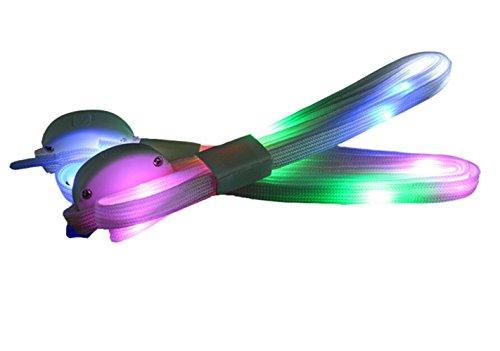 DATO LED Lacci per Scarpe Nylon con 3 modalità di Shining Stringhe Lampeggiante per Corsa Notturna Ciclismo Hip-hop Attività Notturna Feste Ballo