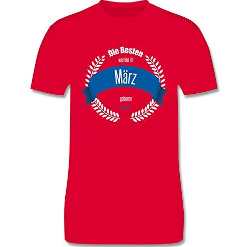 Geburtstag - Die Besten werden im März geboren - Herren Premium T-Shirt Rot