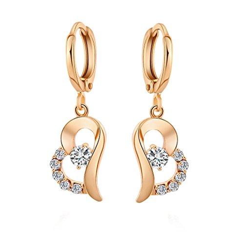 YAZILIND 18K elegantes Vergoldet plattiert Zirkonia Band Ohrringe Herz Weiß Tropfen baumeln Ohrringe für Frauen