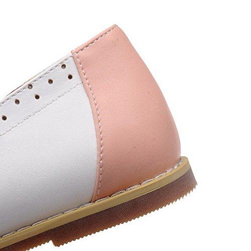 AllhqFashion Femme Tire Pu Cuir Rond Non Talon Couleurs Mélangées Chaussures à Plat Rose