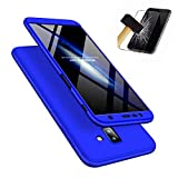 JINICHANGWU kompatibel mit Hülle für Samsung Galaxy J6 Plus/Hülle + Panzerglas, Schale PC Full-Cover Anti-Kratzer Handyhülle Schutzhülle Case Hülle für Samsung Galaxy J6 Plus/ (2018) (Blau)