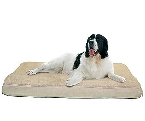 FurHaven Pet NAP Frottee- und Wildledermatte mit luxuriösem, orthopädischem Hundebett (88,90 x 111,76 cm), Jumbo, Ton