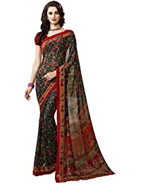 Ligalz Women's Black And Red Georgette Saree (Special Discounted Price Only For THE GREAT INDIAN FESTIVAL)