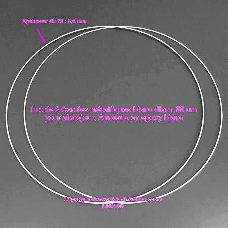 Lote de 2 círculos metálicos de Color Blanco. 55 cm para Pantalla de lámpara, Anillas epoxi Blanco, atrapasueños