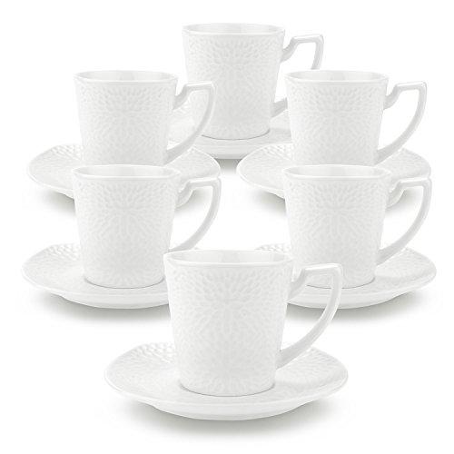 Rachel's 90ml Tournesol (S)La Tasses de Café et Soucoupe en Porcelaine délicat et Résistant 1 paquet de 6
