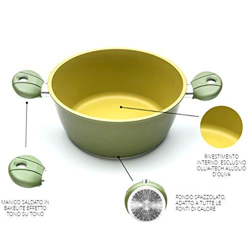 Casseruola 2 manici ANTIADERENTE ALL'OLIO D'OLIVA 100% Made in Italy diametro 20cm iLLa Olivilla cucina