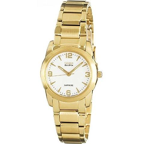 Montre Citizen Femme EP5803–59à solaire acier plaqué or jaune Quandrante Blanc Bracelet acier