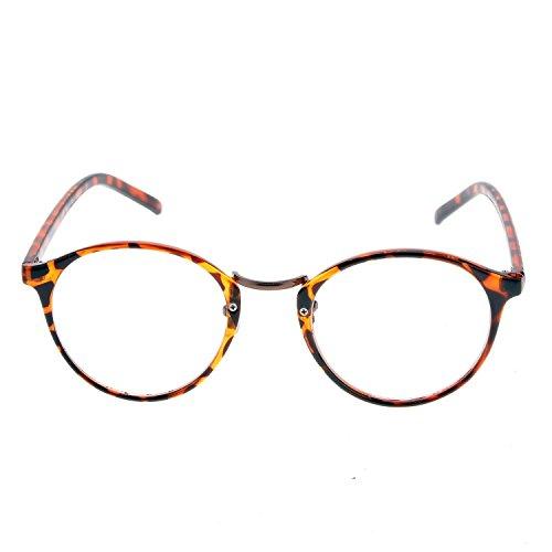 Minetom Unisex Lesebrille mit modischen Retro Runde Objektiv optische Gläser Brille Wayfarer Lesehilfe ( Leopard )