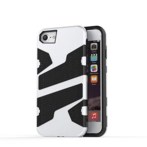 iPhone 6 6S Hülle,iPhone 7 Hülle,Lantier Rüstung mit Luftloch Design Shockproof leichten doppelten Layer Hybrid Defender SchutzHülle für das iPhone 6/6S/7 Silber Silver