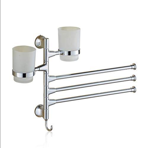 FENCAIYAO Vieira de-Franchise drehen den Handtuchhalter Handtuchhalter WC-Badezimmer Edelstahl DREI Bar Getränkehalter (Color : Silver Dual Cup Three Bar)
