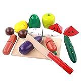 Küchenspielzeug Holz, Lommer 12Pcs Lebensmittel Spielzeug Set Holz Spielzeug Schneiden mit Obst und Gemüse Kinder-Rollenspiele Frühe Entwicklung und Bildung Spielzeug für Kinder