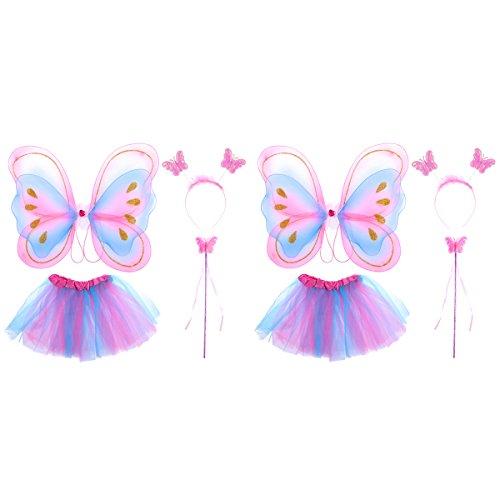 Bestoyard costume farfalla bambina ali da farfalla bacchetta magica cerchietto e gonna tutu 2 set