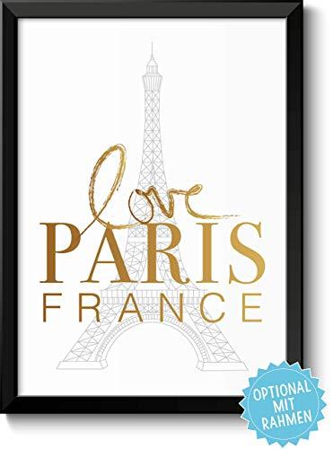 (LOVE PARIS FRANCE mit Eiffelturm – originelles und persönliches Geschenk zum Einzug Umzug Geburtstag Reise Auslandssemester Urlaub - Rahmen optional zubuchbar)