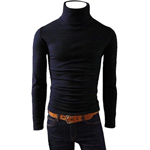 HUI.HUI Chemise à Col Haut Pour Hommes à Manches Longues Homme Chemises Casual Manches Longues Mode Men Tops Printing Fashion Slim Fit Dress Shirt, Effortless Noir