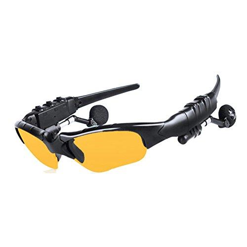 Kabellose Bluetooth-Kopfhörer, Stereo-Kopfhörer, Sonnenbrille, freihändige Fahrbrille, mit drehbaren Kopfhörern und Brillenlinse, für Angeln, Radfahren, Reisen, gelb