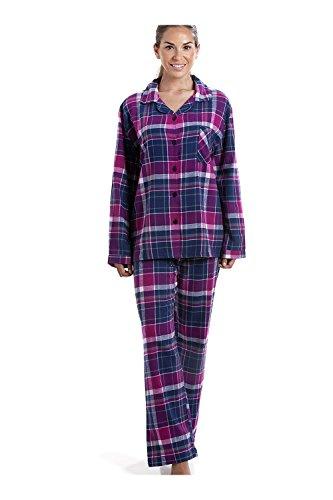 Muster Flanell-pyjama (Camille Langes Pyjama-Set mit Knopfleiste vorne - Baumwoll-Flanell - Karomuster in Violett & Dunkelblau 36/38)