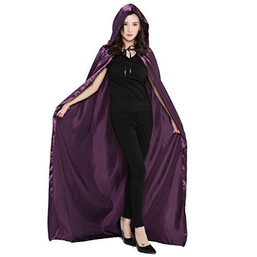 (Damen Herren Halloween Umhang Karneval Fasching Kostüm Cape mit Kapuze (Lila, M))