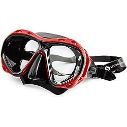 Sportastisch Top¹ Masque de plongée Redfish  Aanti-brouillard & anti-fuite   Professionnel lunettes plongée en verre trempé pour sports,aquatiques, natation et snorkeling   Jusqu'à 3 ans de garantie²