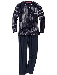 Pyjama long Ceceba : Tee-shirt manches longues bleu marine à rayures rouges et blanches et pantalon bleu marine