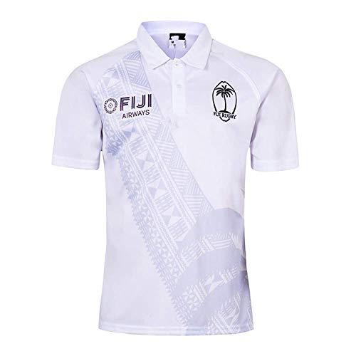 Weißes Rugby-shirt (RUBAYSLOV 19 Fiji World Cup Rugby Shirt für den Mann-Weiß)