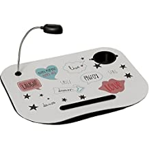 Supernova Decoracion_Bandeja Ordenador Portatil C/lampara Led Extraible Laugh_47x37cm-mdf/pvc-3xlr44