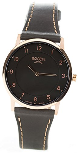 Boccia Damen Analog Quarz Uhr mit Leder Armband 3254-03
