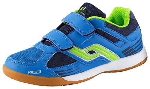 Pro Touch Unisex-Kinder Courtplayer Klett Multisport Indoor Schuhe, Blau/Grün/Navy 000, 33 EU