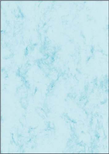 Sigel DP551 Papel de cartas, 21 x 29,7 cm, 200g/m², mármol azul claro, 50 hojas