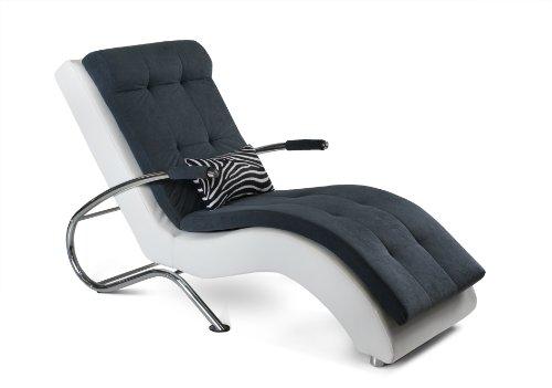 Relaxliege Mix-lay back 165 x 78 cm, Kunstleder-Microveloure, weiß-anthrazit