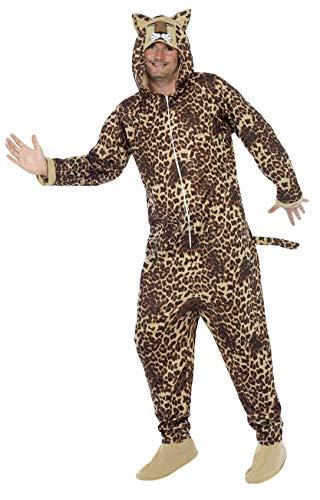 Smiffys, Unisex Leoparden Kostüm, All-in-One mit Kapuze, Größe: L, 50977 (Leopard Kostüm Ideen)