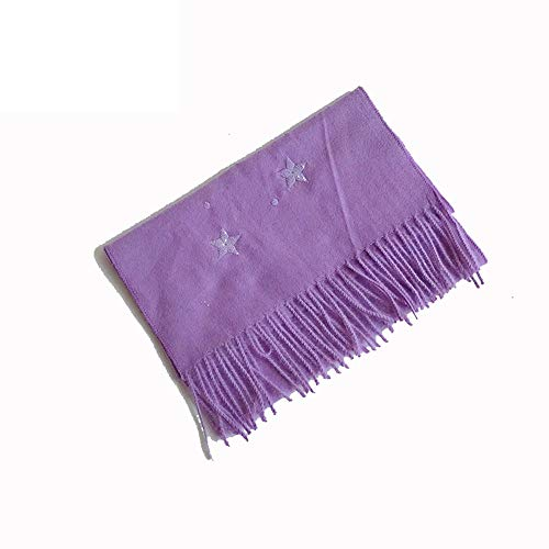 LMSHM Foulard pour Enfants Winter Girl Fringed Scarf Soft and Warm Long Scarf Shawl with Embroidered Star Candy Fluorescent Color,The Stars Purple