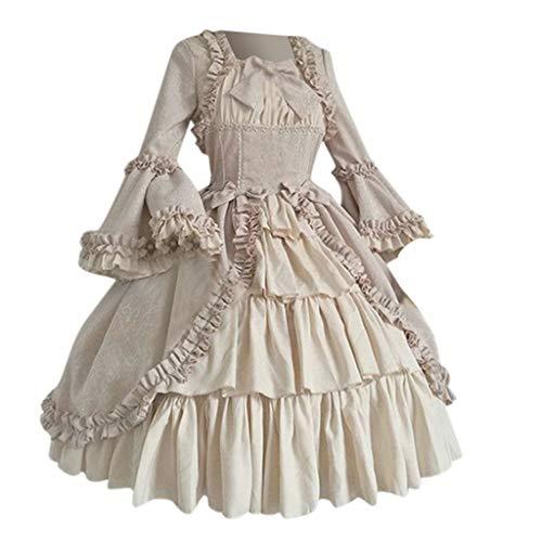 RYTEJFES Ballkleid Mittelalter Kleid mit Trompetenärmel Party Kostüm Damen bodenlang Vintage Renaissance Costume Cosplay Gothic Court Patchwork Bow Kleid (Schwangerschaft Pad Kostüm)