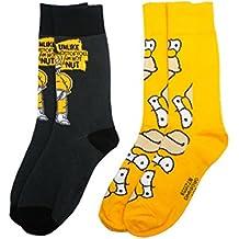 """Simpsons y1h173""""la–Homer Simpson"""" calcetines para hombre (tamaño 6–11, pack de 2)"""