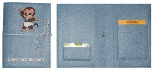 Marina Rossa hellblaue Untersuchungsheft-Tasche mit Affen-Junge Bild und Flock-Schrift * jetzt auch mit Wunschnamen *