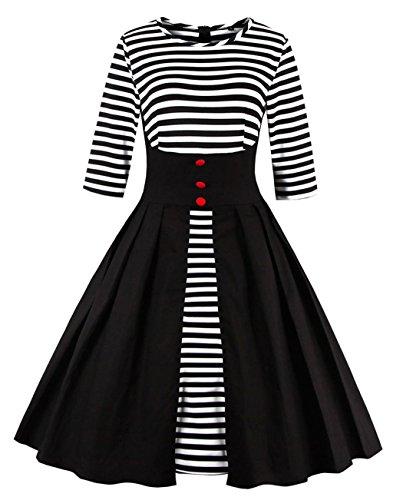 50s Dame Retro Kleider, VERNASSA Abendkleid Elegant Cocktailkleid Vintag 3/4 Arm Knielang Party Rockailly Swing Kleid, Gr.36-46, Mehrfarbig 1335-Schwarzer Streifen