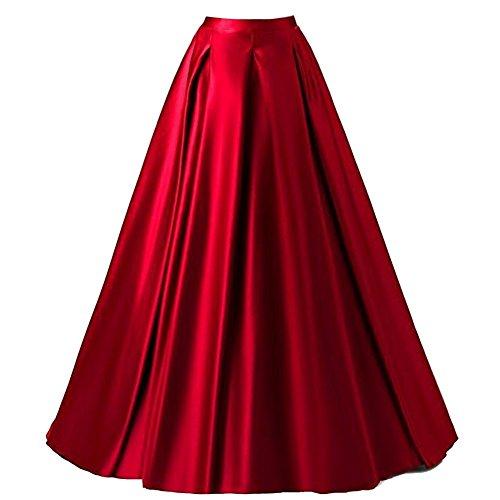 Xiongfeng Damen A-Linie Satin Maxi Vintage Rock Hohe Taille mit Taschen Rot,L