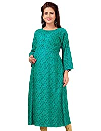 CEE 18 Women's Cotton Rayon A-Line Maternity Feeding Kurti with Zippers (9685)