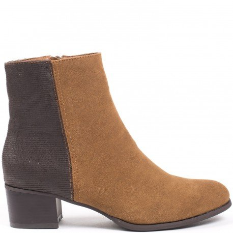 Ideal Shoes - Bottines bimatière Canelle Camel