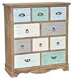 elbmöbel Kommode breit Sideboard aus Holz braun bunt antik Metallgriffen Landhaus Shabby Chic 10 Schubladen