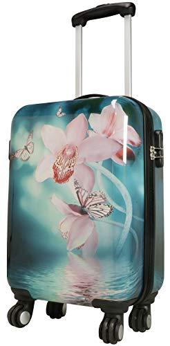 päckkoffer Motiv Schmetterling mit Orchidee 53 cm 38 Liter 4 Räder Bunt Zahlenschloss ()