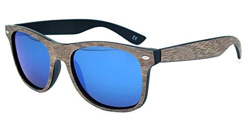 BOZEVON Gafas de sol Retro Unisex UV400 del marco del Bambú de la Manera Chapa de Nogal Negro-Azul
