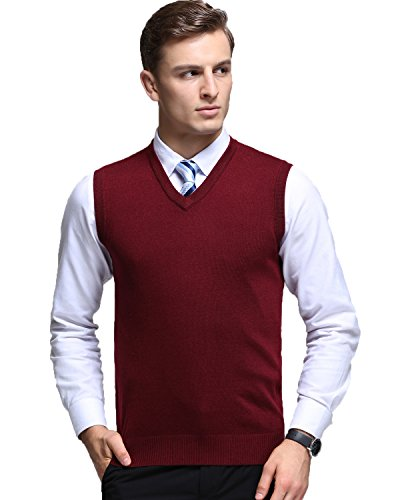 Kinlonsair Herren Casual Slim Fit Solid Leichte V-Ausschnitt Baumwoll-Pullunder (XL, Rot)