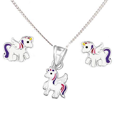 bcdbe3003989 Conjunto de pendientes y colgante infantiles SL-Silver de unicornio de  plata de ley 925