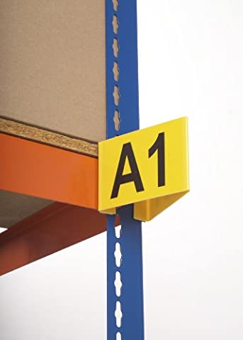 Yellow Magnetic Angled Aisle Marker - Trianglular Sign for Aisle Identification - 95mm (High) x 130mm (Wide) x 130mm (Long) - Supplied with two customised printed labels (Maximum 3 characters per label - Choose from A-Z & 0-9)