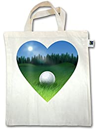 Golf - Golf Herz - Unisize - Natural - XT500 - Fairtrade Henkeltasche / Jutebeutel mit kurzen Henkeln aus Bio-Baumwolle