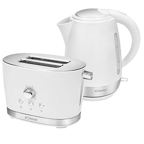 2er Frühstücks Set 1,7 Liter Wasserkocher kabellos 2-Scheiben Toaster Krümelschublade weiß