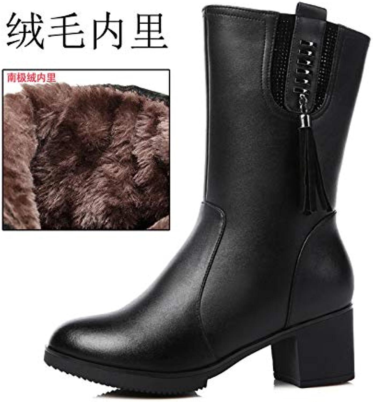 JYSSYLZH Bottes de Neige Nouvelles Bottes Femmes en Cuir Chaussures en Coton Femmes Bottes Bottes Bottes épaisse avec des Bottes... f6d001
