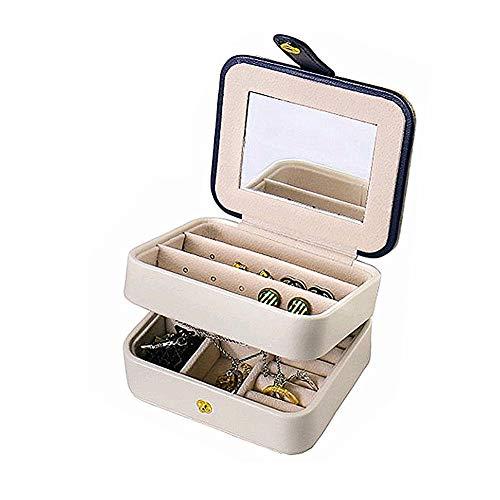 Reisen Schmuck Box Doppelschicht Schmuck Organizer Kleine Größe Aufbewahrungskoffer mit Spiegel für Ring Ohrstecker Halskette Geburtstag Geburtstagsgeschenk (Weiß)