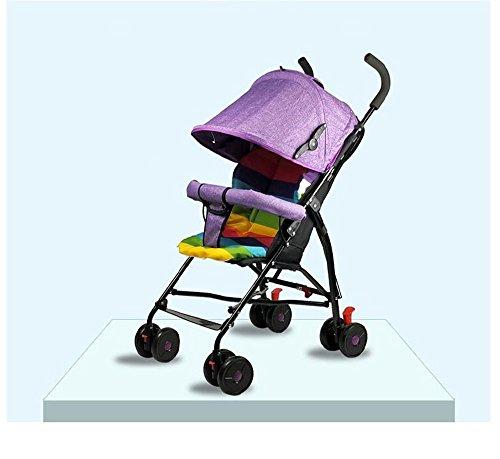 BLLz&Xdd Multifunktions-Kind-Laufkatze-tragbarer Kinderwagen, der kann ziehen kann tragen Breathable bequemes stoßsicheres Anti-hunchback Sonnenschutz-Auto (Farbe : Lila)